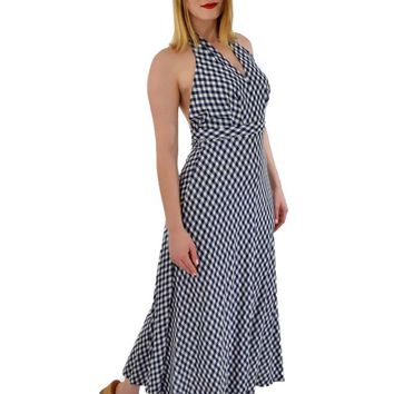 70s Navy White Check Halter Maxi Dress