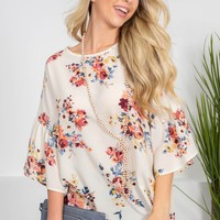 Sheer Cream Floral Top