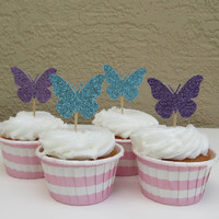 12 Glitter Butterfly Cupcake Toppers for a Birthday Party in Blue, Silver, Gold, Pink, or Purple