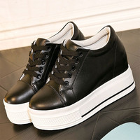 women genuine leather casual  platform shoes
