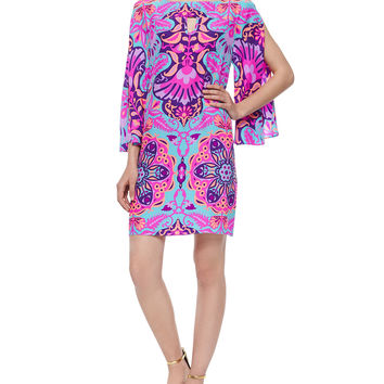 3/4-Sleeve Ikat-Print Shift