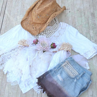 SALE White crop top, Summer jacket, bohemian gypsy cowgirl, shabby white nude shirt, romantic lagenlook, boho clothes, true rebel clothing