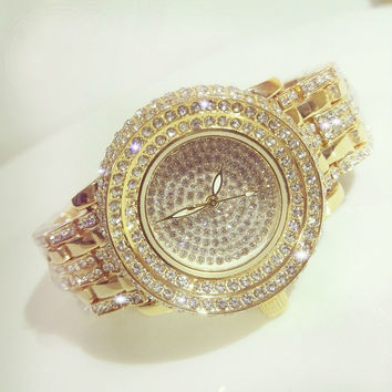 New Fashion Full Diamond Quartz Watch BS Brand Gold Dress Watch Women Luxury Austrian Crystals Watch Lady Charm Bangle Bracelet