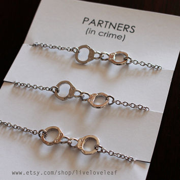 Matching Best Friends Bracelets Set Of 3 Silver Tone Handcuffs