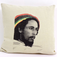 Bob Marley Pillow Cushion, Decorative Throw Pillow, Throw Pillow Cover, 16 x 16 Pillow, Modern Pillow