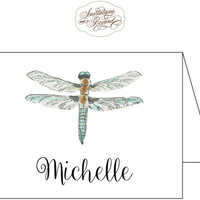 Dragonfly Note Cards Stationery - Watercolor Dragonfly Design - Personalized