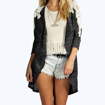 Fashion stitching lace cardigan coat