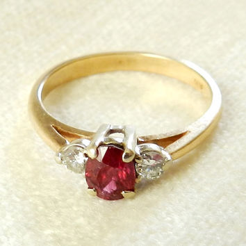 Ruby Engagement Ring, 14k Genuine Ruby and Diamonds Antique Engagement Ring