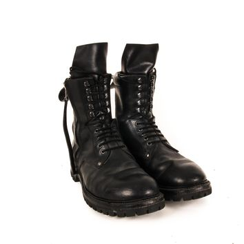 Rick Owens Black Leather Combat Boots