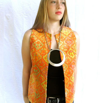 GROOVY 60s Carpet Folk Vest Orange Yellow Pumpkin // Hippie Vest // Boho Chic
