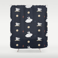 Bunnies on the Moon Shower Curtain by lalainelim
