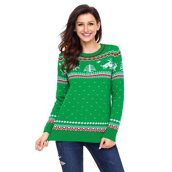 Chicloth Green Christmas Reindeer Knit Sweater Winter Jumper