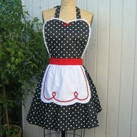 retro apron LUCY  red with black polka dot apron  fifties details sexy hostess gift  vintage inspired flirty womens full apron