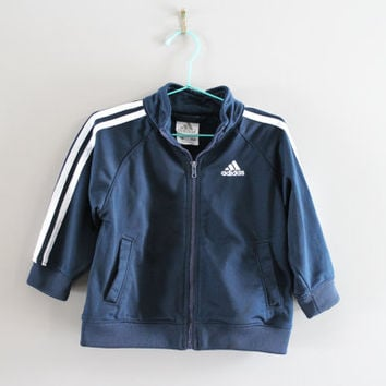 Free US Shipping Toddler Adidas Jacket Navy Blue 3 Stripes Boy Adidas Zip Up Jacket Track Jacket 90s Vintage Size 12 - 18 months #C065A