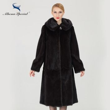 Athena Special Long Type Women Real Mink Coats Ladies Natural Genuine Fur Coats Mink China Luxury Mink Fur Clothing Plus Size