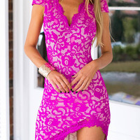 Lace Dress with Irregular Hem