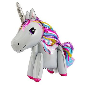 50pcs 60*60cm cute 3D Cartoon  Unicorn Balloon Aluminum Foil Balloons For Birthday Party Inflatable Balls Decoration kids toys