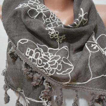 Brown Tassel Scarf Shawl, White Embroidered on Taupe Cowl Scarf, Gift For Mom For Her, ScarfClub