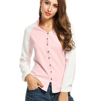 Pink Women's V-Neck Long Sleeve Patchwork Casual Button Down Shirt Tops