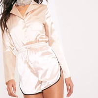 Meadelyn Champagne Satin Pajama Style Shirt