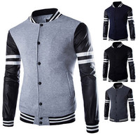 Leather Sleeve Street Style Men's Fashion Varsity Jacket