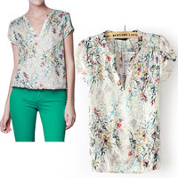 Floral V Neck Short Sleeve Blouse