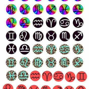 4 sets of astrological birth sign zodiac symbol digital download COLLAGE 1 inch circles rainbow leopard black red