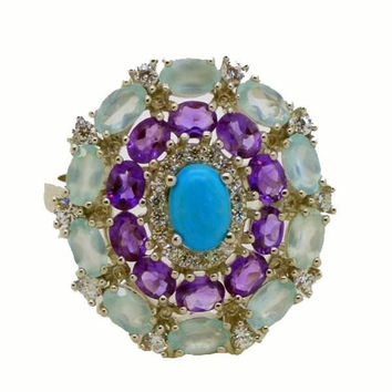 Blue Chalcedony. Amethyst, White Cubic Zirconia, Turquoise 14k White Gold over Sterling Silver Ring