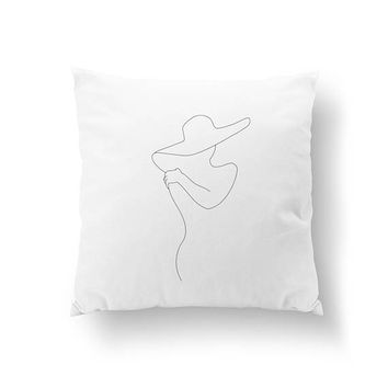 Female Front Side, Female Figure Art, Minimal Art, Bed Pillow, Home Decor,, Cushion Cover, Throw Pillow, Black And White, Woman Silhouette