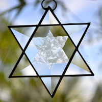 "STAR OF DAVID, Real Stained Glass with Bevels,Two Stars in One ..Beautiful !!!  3"" x 3""  Judaica, Hanukkah.... Order Early!"