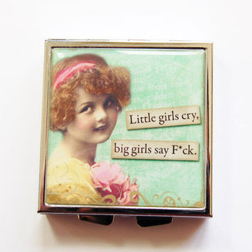 Funny pill case, Funny pill box, Pill Case,  Pill Box, 4 Sections, Square Pill case, Square Pill box, retro, green, humor  (4092)