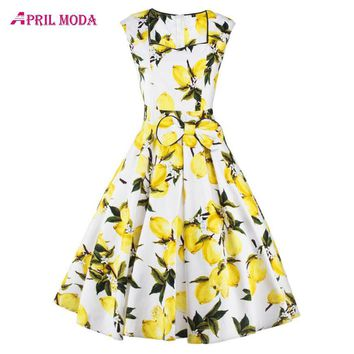 Casual Print Floral Summer Swing 50s Dress 2017 Sleeveless Rock Roll 1930s Dress Audrey Hepburn Vintage Dresses Women Clothing
