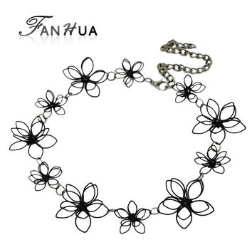 New Simple Necklaces Flower Shape Hollow Out  Ethnic Style Choker Necklace Women Jewellery From India  Fashion Designer