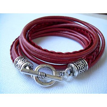Womens Leather Bracelet, Five Strand, Double Wrap, Metallic Red, Mothers Day Gift, Womens Gift, Womens Bracelet, Womens Jewelry