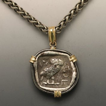 ON SALE-ancient coin necklace, silver & gold necklace with silver ancient greek coin.