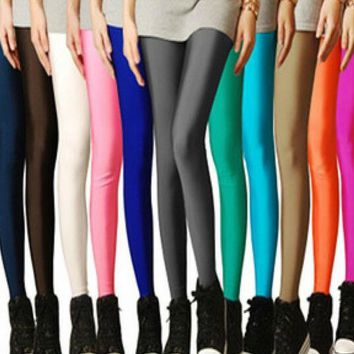2016 Sexy Solid Candy Neon Leggings Plus Size Women's Leggings High Stretched Elastic Leggings Fitness Ballet Dancing Paint