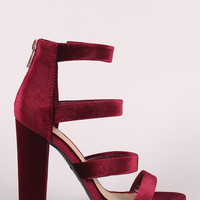 Bamboo Strappy Velvet Ladder-Up Chunky Heel