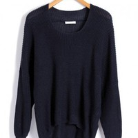 Navy Batwing Jumpers with Dip Hem