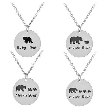 Charm Women Necklace Jewelry Baby Bear and Mama Bear Pendant Necklace Fashion Mother's Day Gift Love between Mother and Child