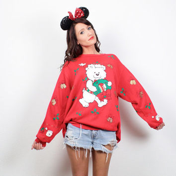 Vintage Ugly Christmas Sweater Ugly Xmas Sweater Tack Holiday Jumper Twee Teddy Bear Sweatshirt Red Green White Tshirt L XL XXL Extra Large