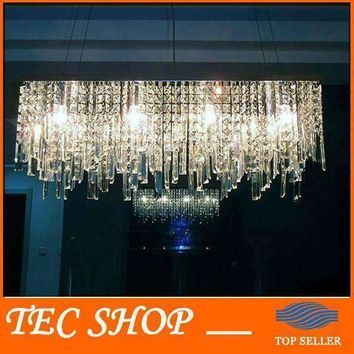 Best Price JH Modern Rectangular Crystal Chandeliers K9 Crystal Ceiling Lamp Fixtures Restaurant LED Lighting E14 Free Shipping