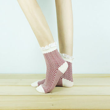 SALE Geometric Lace Socks, Ankle Socks, Leg Warmer, Lace Trime Sock, casual socks, sneaker socks, cute socks