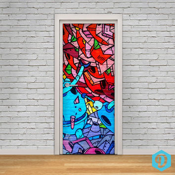 Door Decal Self-Adhesive Vinyl Sticker - NYC Street Art Graffiti Door Cover Wrap