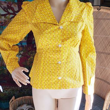 60's Yellow Tulip Top, Vintage Button Down Tie Back Top, Vintage Yellow Top, Women's 60's Shirt, Yellow Bohemian Shirt, Tulip Shirt, XS/SM