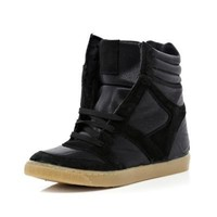 black lace up wedge high tops - high tops - shoes / boots - women - River Island