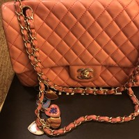 authentic chanel Valentine's Day pink purse