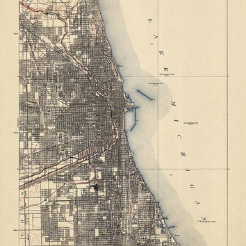 "Antique Map of Chicago (1901) - USGS Topographic Map - 16""x20"" - Archival Reproduction"