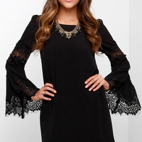 Jolly-Well Black Lace Swing Dress