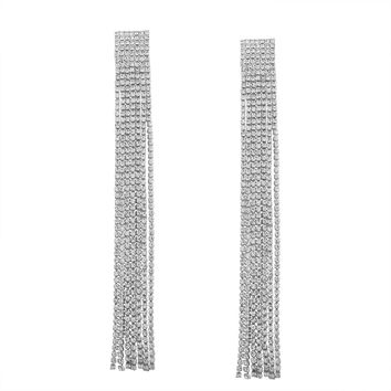 Nova Rhinestone Tassel Earrings | Silver