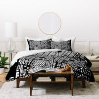 CityFabric Inc NYC Black Duvet Cover